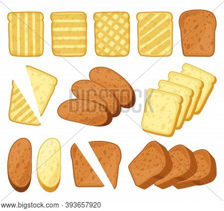 Cartoon Toasts. Breakfast Toasted Bread, Slices Of Bake Roll, Pastry Wheat Bakery Products. Bread Lo