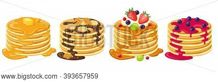 Cartoon Pancakes. Stacks Of Tasty Pancakes With Maple Syrup, Butter, Chocolate Syrup, Fruits And Jam