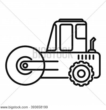 Heavy Road Roller Icon. Outline Heavy Road Roller Vector Icon For Web Design Isolated On White Backg