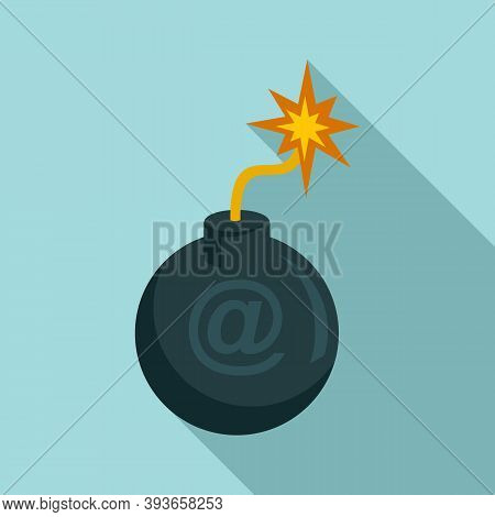 Email Fraud Bomb Icon. Flat Illustration Of Email Fraud Bomb Vector Icon For Web Design