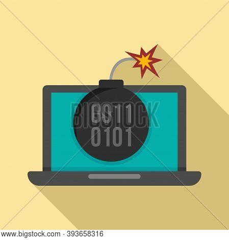 Laptop Fraud Bomb Icon. Flat Illustration Of Laptop Fraud Bomb Vector Icon For Web Design