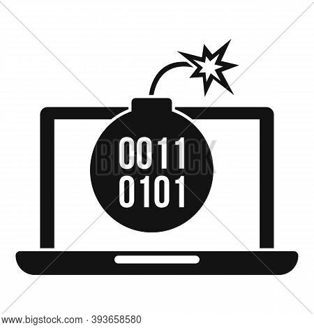 Laptop Fraud Bomb Icon. Simple Illustration Of Laptop Fraud Bomb Vector Icon For Web Design Isolated