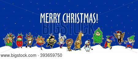 Christmas Costume Party. Set Of Girls And Boys In Fairy Costumes. Vector Illustration Of Cute Kids.