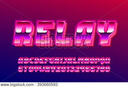 Relay Alphabet Font. Glow Effect Letters And Numbers. Stock Vector Typescript For Your Typography De