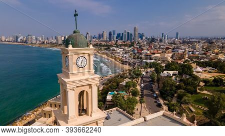 Belltower, Jaffa, Tel Aviv, Israel, Aerial View. Modern City With Skyscrapers And The Old City. Bird