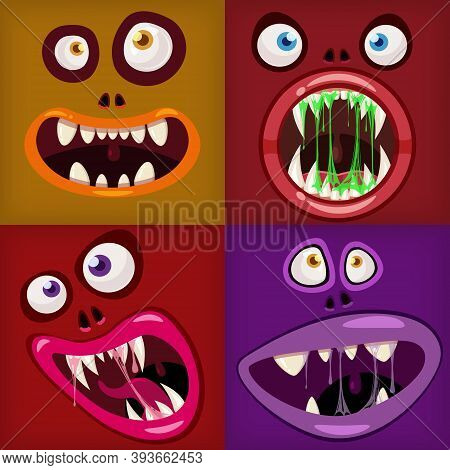Set Monsters Mouths Creepy And Scary Halloween. Funny Jaws Teeths Tongue Creatures Expression Monste