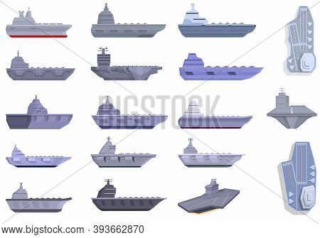 Aircraft Carrier Icons Set. Cartoon Set Of Aircraft Carrier Vector Icons For Web Design