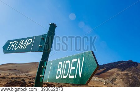 Us Presidential Race. The Names Of Presidents Donald Trump And Joe Biden On The Roadside Sign On The