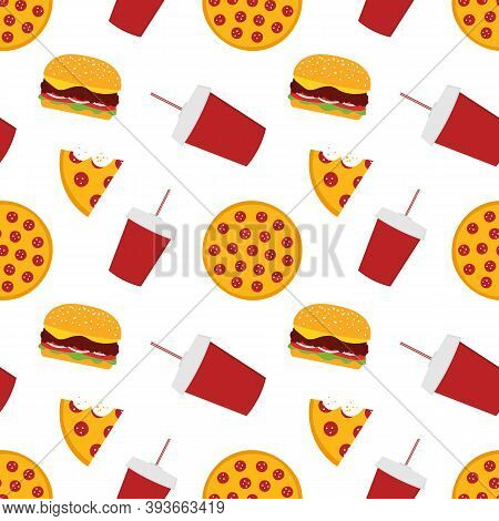 Pepperoni Pizza, Cheeseburger And Soft Drink Vector Seamless Pattern Background. Fast Food Delievery