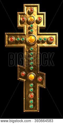 Stock 3D illustration of a Byzantine three barred cross made from gold and decorated with colorful gems Isolated silhouette on black background