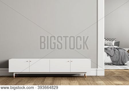 Gray Empty Interior With Dresser, Door And Decor. 3d Render Illustration Mockup.