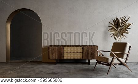 Modern Minimalistic Interior With Arch, Dresser, Lounge Chair And Decor. 3d Render Illustration Mock