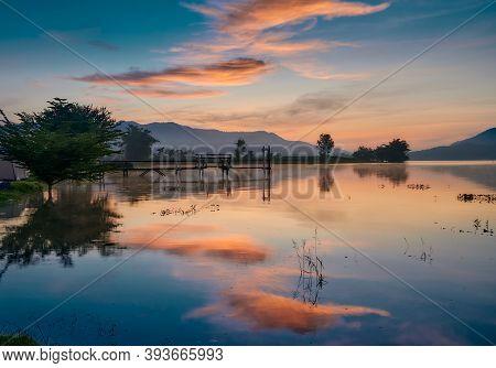 Sunrise At Lam Taphoen Reservoir, Thailand