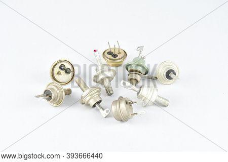 thyristors, low-power transistors, in a metal case, vintage radio components