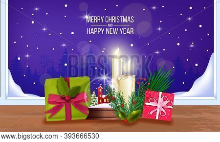 Christmas And Happy New Year Background With Gift Boxes, Crystal Snow Ball, Candles, Fir Branches. X