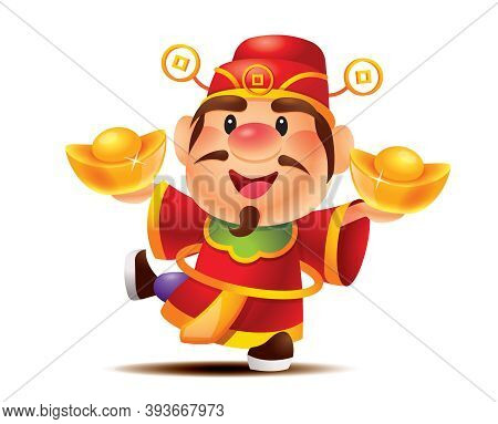 Chinese New Year. Cartoon Cute God Of Wealth Holding Two Big Gold Ingot, With One Leg Kicking