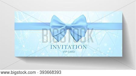 Holiday Invitation Template With Blue Bow Tie (ribbon), Lines, Stars On Background. Premium Vip Clas