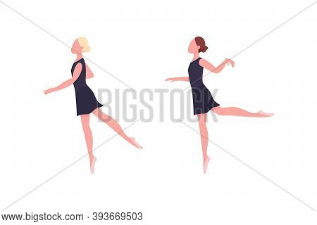 Practicing Ballerina Flat Color Vector Faceless Character Set. Dancer Rehearse. Gymnastics Class. Cl