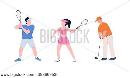 Tennis Players Couple Flat Color Vector Faceless Character Set. Sportsman And Sportswoman With Racke