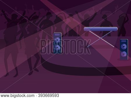 Nightclub Flat Color Vector Illustration. Nightlife Entertainment. Modern Discotheque. Dynamic Music