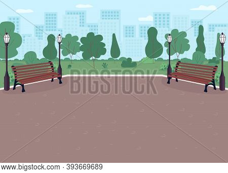 Park Plaza Flat Color Vector Illustration. Parkway With Benches. Place For Recreation. Downtown Dist