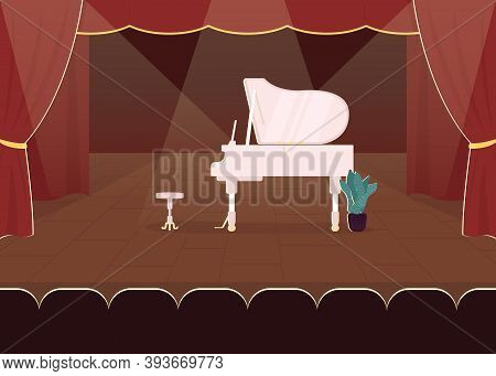 Piano Concert Flat Color Vector Illustration. Stage With Classical Musical Instrument. Solo Show For