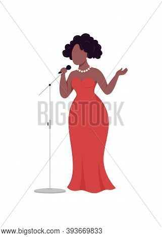 African Woman Singer Flat Color Vector Faceless Character. Jazz Musician Sing In Microphone. Karaoke