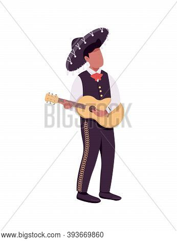 Mexican Guitarist Flat Color Vector Faceless Character. Hispanic Guitar Player In Sombrero. Latin Fe