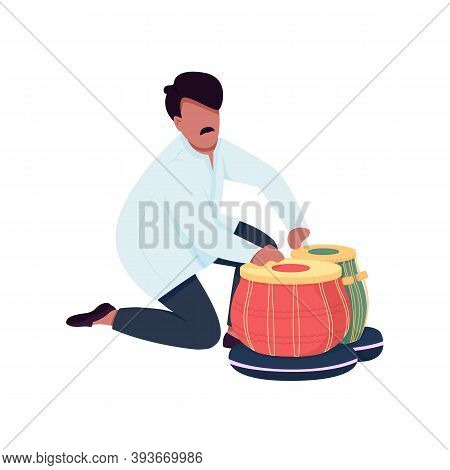 Indian Musician Play Tabla Drums Flat Color Vector Faceless Character. Traditional Musical Instrumen