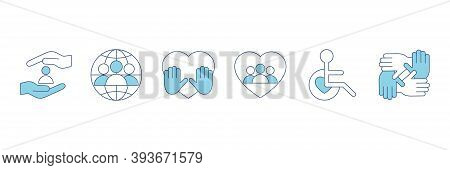 Voluntary, Charity, Donation Set Icons. Orphans And Help, Voluntary Activity, Heart In Hands Vector