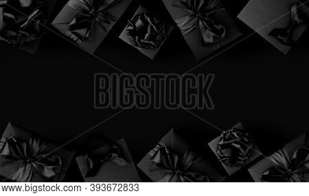 Black Shopping Bags And Gift Boxes On Black Background With Copy Space For Text, Black Friday Sale S