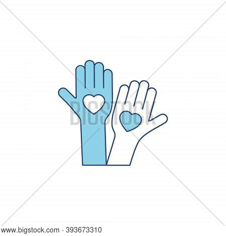 Heart Blue Silhouette Icon On The Hand Isolated On The White Background. Voluntary Symbol Illustrati