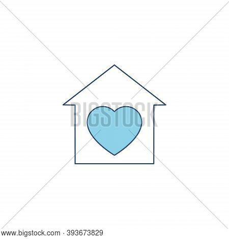 House With Heart Shape Icon. Voluntary Center Vector Illustration Isolated On White Background. Hear