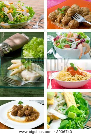 Collage of food related pictures with salada fish meatballs and pasta poster