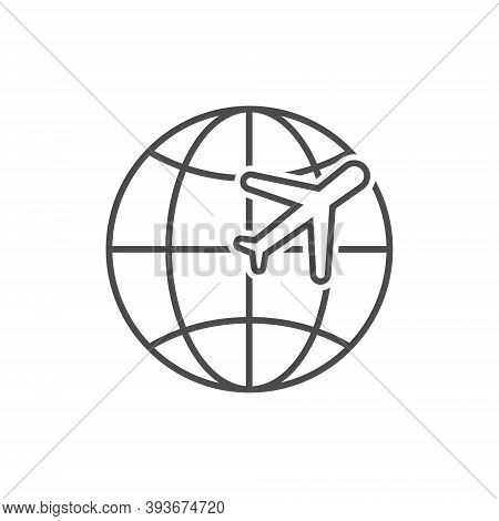 Airplane Flying Around World Vector Illustration Isolated On White