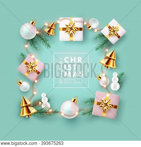 Christmas And New Year Background, Greeting Card, Sale Poster, Holiday Cover. Modern Xmas Banner Des