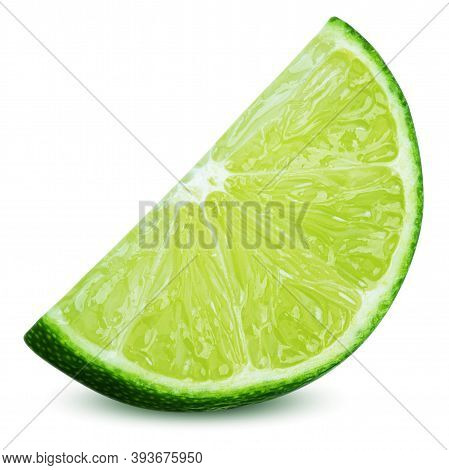 Isolated Lime Fruit. Ripe Slice Of Lime Citrus Fruit Stand Isolated On White Background. Lime Citrus