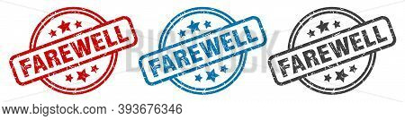 Farewell Stamp. Farewell Round Isolated Sign. Farewell Label Set