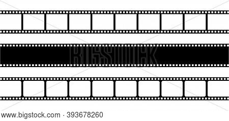 Set Of Film Strips Isolated On Transparent Background. Logo Template Vector Illustration. Vintage Re