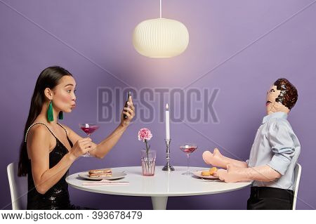 Online Dating, Social Networking And Virtual Relationship Concept. Inlove Woman Has Online Meeting W