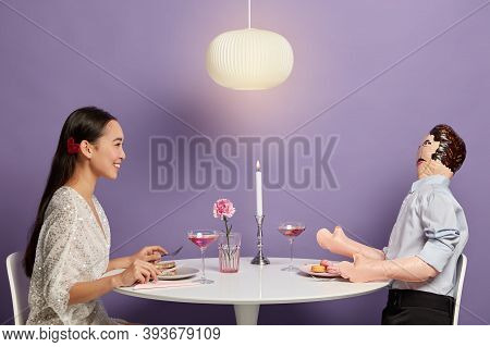 Smiling Woman Has Pleasant Talk With Mannikin, Imitates Dating, Forgets About Real Problems With Unr