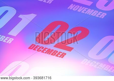 December 2nd. Day 2 Of Month, Red Date Written On A Calendar To Remind Important Event. Winter Month