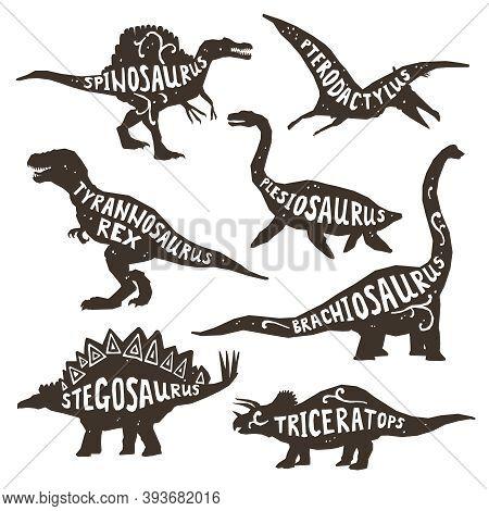 Dinosaurs Black Silhouettes Set With Lettering Pterodactyl Plesiosaur Spinosaurus Tyrannosaurus Tric