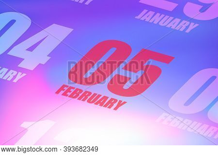 February 5th. Day 5 Of Month, Red Date Written On A Calendar To Remind Important Event. Winter Month