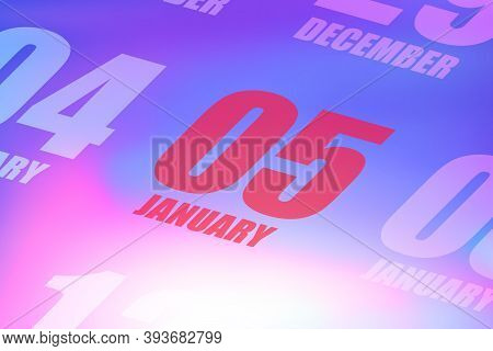 January 5th. Day 5 Of Month, Red Date Written On A Calendar To Remind Important Event. Winter Month,