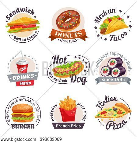 Fast Food Set Of Labels With Burgers Hotdogs Japanese Rolls Drinks And Design Elements Isolated Vect