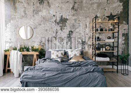 Cozy Bedroom In Modern Design Apartment With Loft Style Interior, Winter Home Decor On Wooden Table,