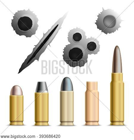 Bullets And Holes Realistic Set Of Isolated Grey Bullet Holes And Metallic Ammunition Rounds With Sh