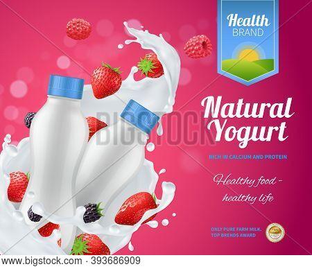 Berry Yogurt Advertising Composition With Natural Yoghurt Symbols Realistic Vector Illustration