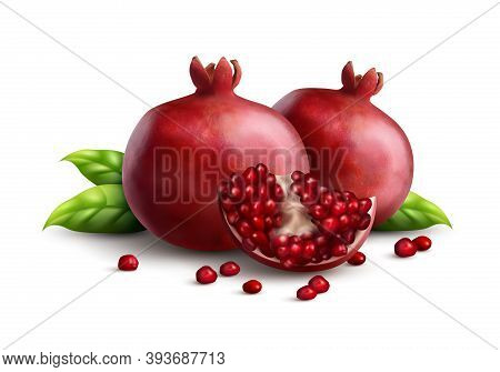 Two Fresh Ripe Whole Pomegranates With Quarter Part And Strewn Seeds Appetizing Closeup Realistic Co